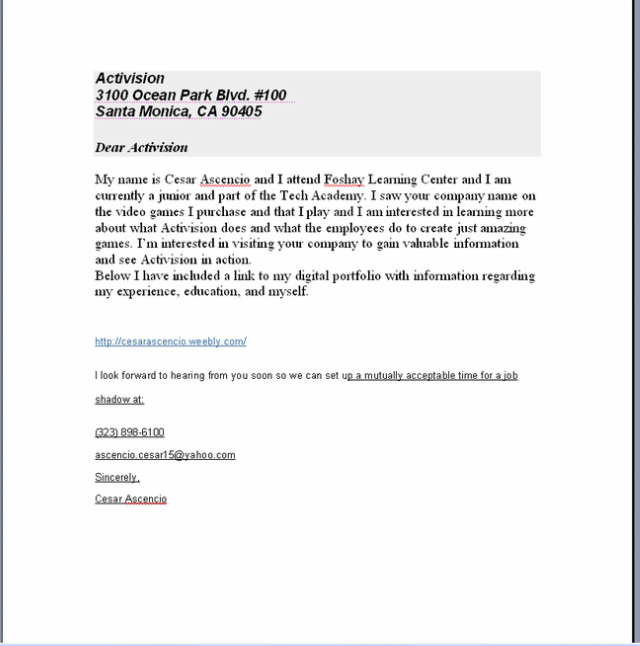 Resume Business Letter